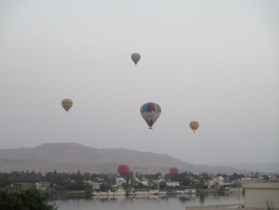 balloons over Nile in Luxor