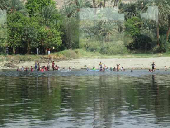 children playing on the Nile