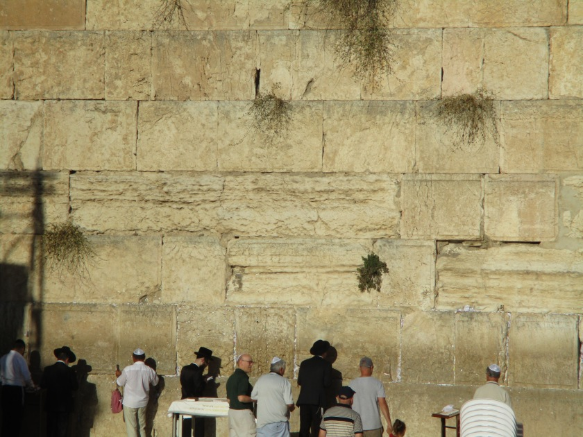 Ian, Robert and Lewis praying at the Wailing Wall