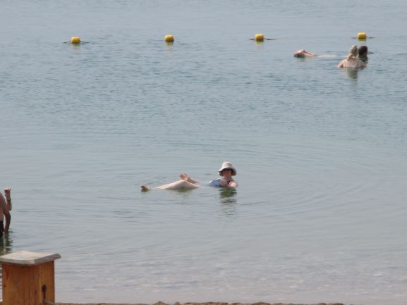 J floating in the Dead Sea