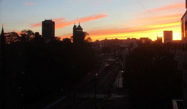 dawn over Cardiff