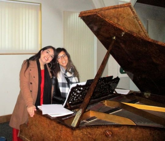 Michelle and Ayse rehearsing