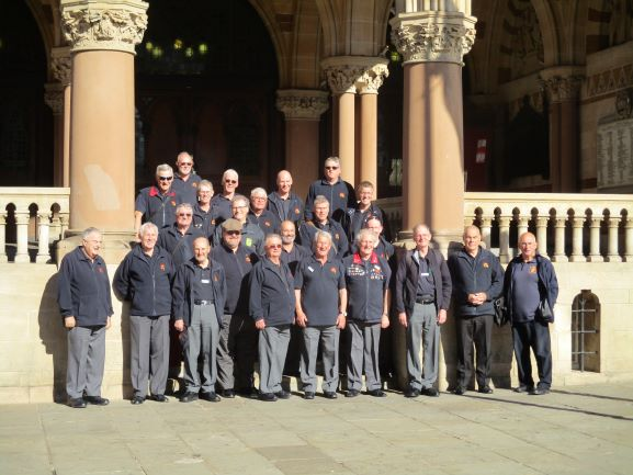outside the guild hall some of the choir.JPG